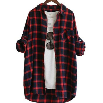 Spring Womens long shirts Tops Casual Blouse Shirt Red Green Long Sleeve flannel plaid shirt women Cotton Shirt blusas de mujer