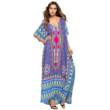 2018 Ladies\' Print Beach Sundress Sexy V-neck Bohemian Long Dress African Ethnic Summer Loose Vintage Kaftan Maxi Dresses