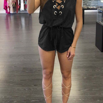 Black Lace-up Neck Hooded Sleevless Top and Shorts
