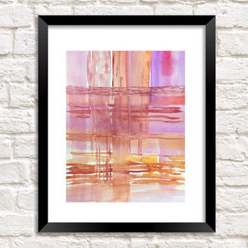 Watercolor Abstract painting, Print of Original watercolor, Modern Art, minimalist Contemporary wall art, peaceful art, pink and purple