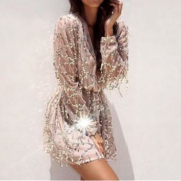 White Plain Grenadine Sequin Bandage Plunging Neckline Tunic Party Mini Dress