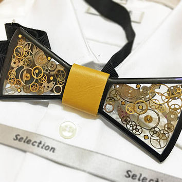 Black acryl bow tie and cufflinks  sets, Acryl and resin bow tie,  steampunk bow tie , man gift, wedding , steampunk jewelry, resin bowtie