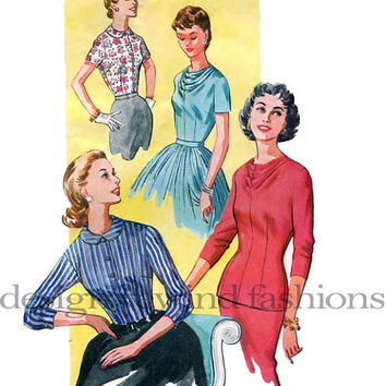 1950s Misses/Women's Blouses - Draped Neckline or Peter Pan Collar, Short or 3/4 Length Sleeves Bust 34 Mad Men Style Vintage Sewing Pattern