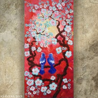 BIRD art on SAKURA TREE art love painting blue bird contemporary artwork marsala red acrylic on canvas by Ksavera gift ideas for her decor