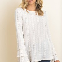 Brecken Cable Knit Ruffle Sweater