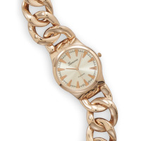 "7.5"" Rose Gold Tone Curb Link Fashion Watch"
