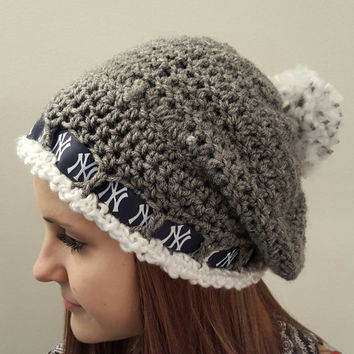 Crochet Yankees Inspired slouch hat. NY. Ladies Size. Made by Bead Gs on ETSY. Baseball. New York.
