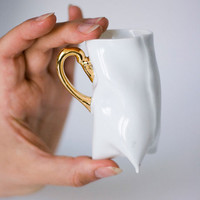 Coffee cup - Porcelain cup - white with gold, ceramic cup handmade contemporary ceramic by Endesign