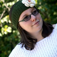 Olive green Flower headband winter ear warmer teen or ladies off white with button accent custom colors available.