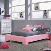 Pink Upholstered Pit Bed