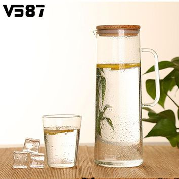 Chinese Flower Teapot With Stainless Steel Filter 1.5L Glass Kettle Water Jug Bamboo Lid Heat Resistant Home Office Water Holder