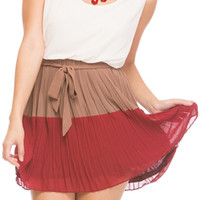 TWO TONED CREAM PLEATED DRESS - RED