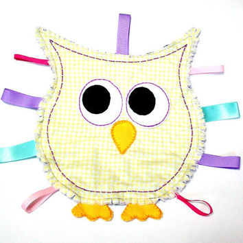 Owl Taggie Ribbon Sensory Baby Blanket Toy Yellow and White Gingham Purple Flannel and Cuddly Soft