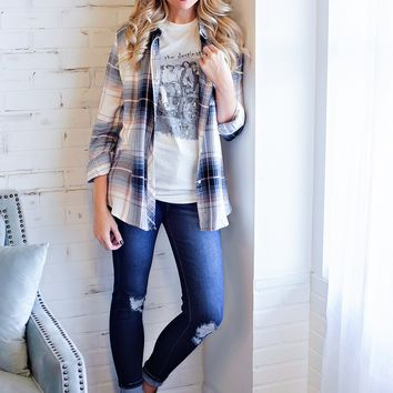 * Hanging Stockings Plaid Top: Mauve/Navy/White
