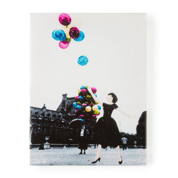 Audrey Hepburn with Colored Balloons Wall Canvas