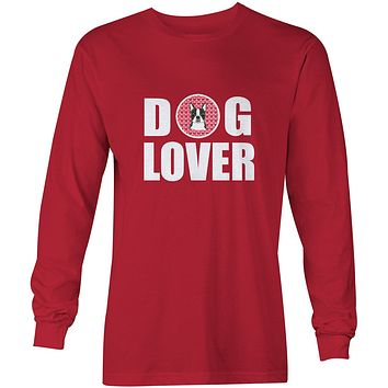 Boston Terrier Dog Lover Long Sleeve Red Unisex Tshirt Adult Double Extra Large BB5273-LS-RED-2XL