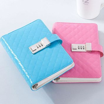 A6 Faux Leather Password Lock Notebook Dokibook Planner Organizer Loose Leaf Composition Books Spiral Notepad Office Stationery