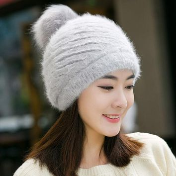 VONESC6 NEW Arrival Fashion Women's Winter Hats Beanies Knitted Warm Hats Rabbit Fur Cap Ladies Female Skullies Elegant Beret Hats