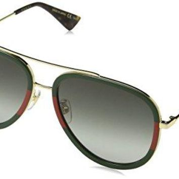Gucci GG0062S 003 Gold / Green GG0062S Aviator Sunglasses Lens Category 3 Size