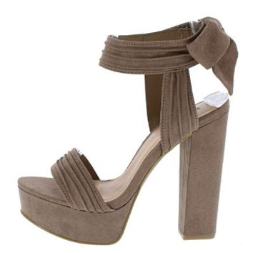 TOURNAMENT TAUPE PIN TUCK OPEN TOE ANKLE TIE HEEL
