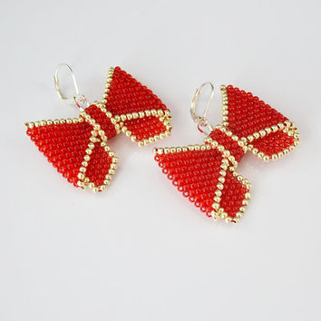 SUMMER SALE Cute small bow earrings red silver