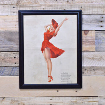 Vintage Pinup Girl Art, Red Means Go Pinup, Original Varga For Esquire, Vintage Vargas Girl