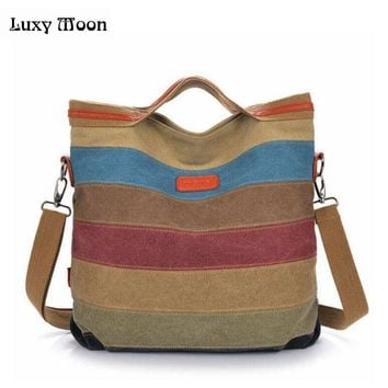 2017 new stripe vintage Women shoulder pouch messenger bag women canvas handbag women's handbags patchwork women bag W171