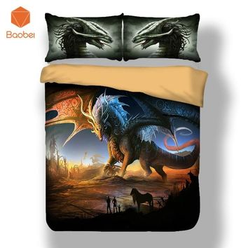 Cool 3pcs Pinted 3D Dinosaur with wings Duvet Cover Set Bedding set With Pillowcase for Adults Kids Twin Full Queen King Size sj208AT_93_12