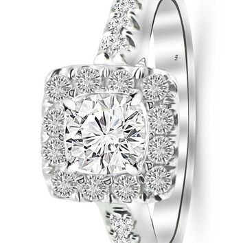 d.1.78 Carat 14K White Gold Square Halo Cushion GIA Certified Round Cut Diamond Engagement Ring (1.28 Ct K Color VS1 Clarity Center Stone)