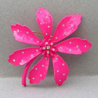 Shocking HOT Pink Vintage 1960's Signed VENDOME Enamel & Rhinestone 1960's Flower Power Pin