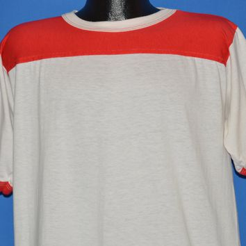 80s Blank White And Red Jersey Style t-shirt Extra Large