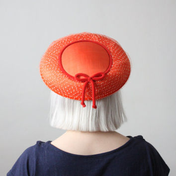 1950s coral saucer hat