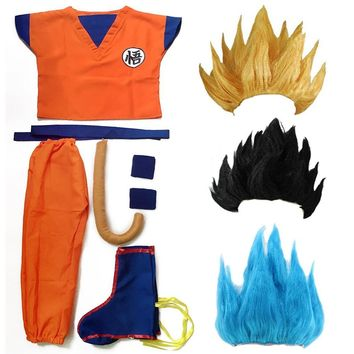 Cool Dragon Ball Z Clothes Suit Son Goku Cosplay Costumes Top/Pant/Belt/Tail/wrister/Wig For Adult Kids 6 SIZE Children's Day GiftAT_93_12