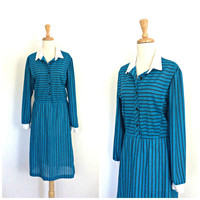 Vintage 1970s Dress - shirtwaist - knee length - work dress - preppy - long sleeve - Medium - Large