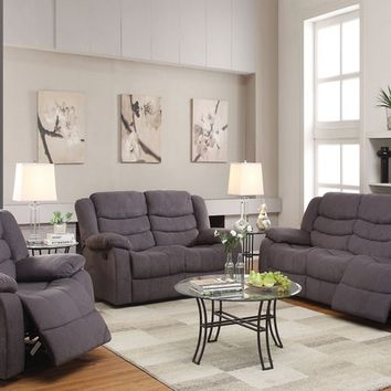 Acme 51410-11 2 pc jacinta gray velvet fabric sofa and love seat set with recliners