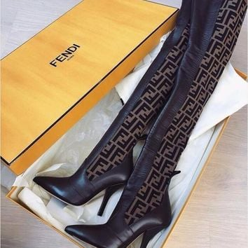 FENDI Fashion Women F Letter -Jacquard Stretch-Knit Leather Over-The-Knee Boots High Heel