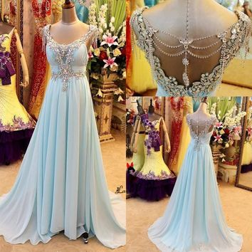 Baby Blue Rhinestones Long Prom Dresses 2018 Women Pageant Chiffon Crystals Special Occasion Formal Evening Gowns Formatura