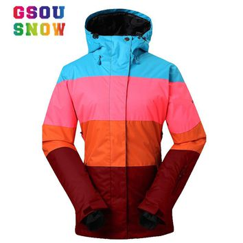 GSOU SNOW Brand Ski Jackets Women Winter Snow Coats Patchwork Style Ladies Snowboard Jacket Warmth Thicken Waterproof Ski Wear