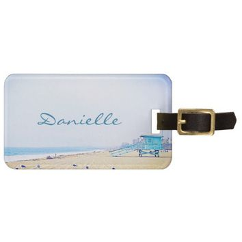 Blue sky sandy beach photo custom name luggage tag