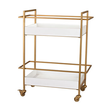 Sterling Industries  Gold and White Bar Cart in Gloss White,Gold 351-10182
