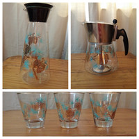 Vintage Mid Century Douglas Glass Set- Decanter, Highball Glasses, & Percolator Coffee Pot