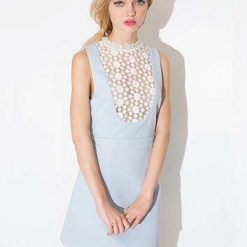 Powder Blue High Lace Collar Dress