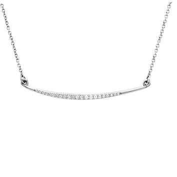 1/8 Ctw Diamond Curved Bar Necklace in 14k White Gold, 16 Inch