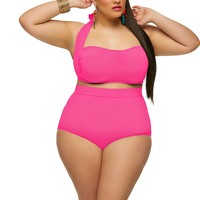 """Sao Paulo"" High-Waisted Plus Size Bikini Top with Underwire -Neon Pink - Two Piece Swimsuits - Swimwear - Monif C"