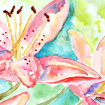 Colorful Watercolor Flowers, Pink, Teal, Bedroom Wall Art, Flower Print, Lily Painting, Flower Painting, Art for Girls Room, Bedroom Decor