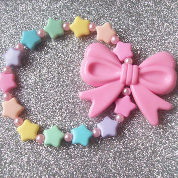 Candy Magic - Pastel Rainbow Stars and Pink Bow Stretch Bracelet