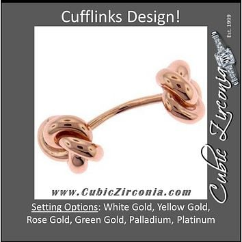 Men's Cufflinks- Double-End Knotted Style