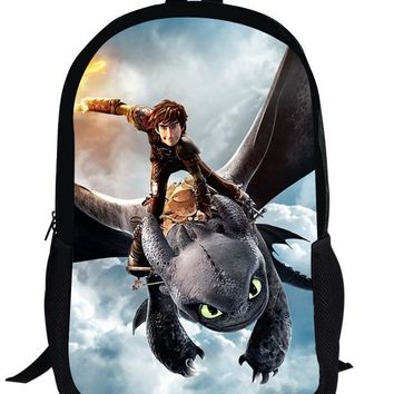 16-inch Mochila Escolar Menino Boys Bag Kids School Bags How to Train Your Dragon Backpack Tootheles Hiccup Print Age 7-13