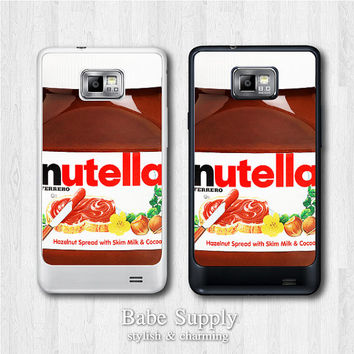 Samsung Galaxy S2 case - Nutella Bottle - Cute Funny Chocolate bottle galaxy S2 cover, Black / Clear hard SII case