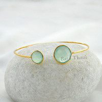 Amazing High Quality Aqua Chalcedony 14mm, 10mm Micron Gold Plated 925 Sterling Silver Bangle #1324